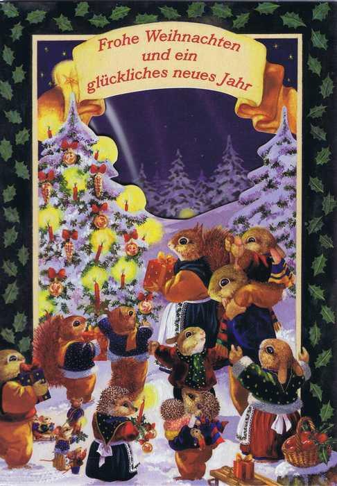 Weihnachtskarte Motiv: Weihnachtsfeier der Waldbewohner