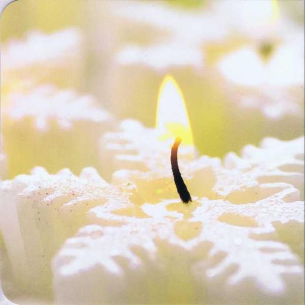 Quadratische Weihnachtskarte ohne Text - Kerze