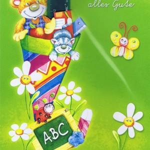 Glückwunschkarte zur Einschulung - Zuckertüte mit Lineal