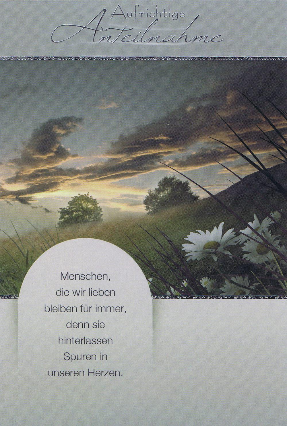 Beileidskarte mit Landschaftsmotiv und Kondolenzspruch