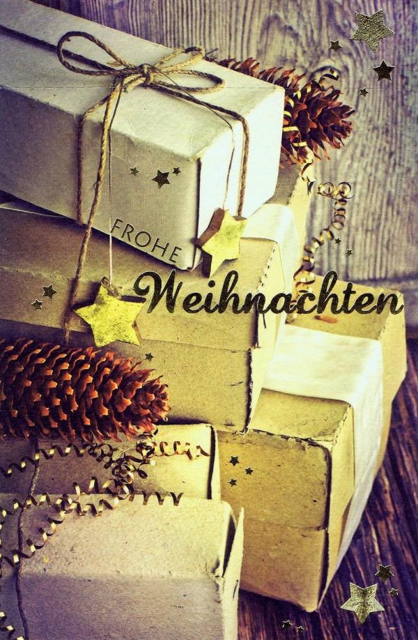 Weihnachtskarte mit Weihnachts-Pakete