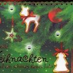 Weihnachtskarte mit Steinchen - geschmückter Weihnachtsbaum