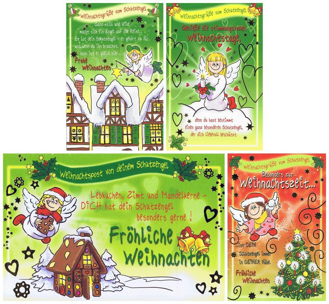 Weihnachtskarten 4 Stück: Weihnachtspost Schutzengel