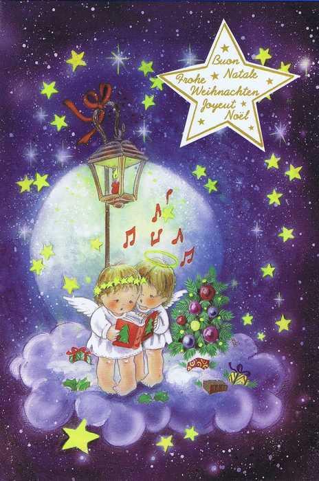 Weihnachtskarte - Weihnachtsengel singen Weihnachtslieder