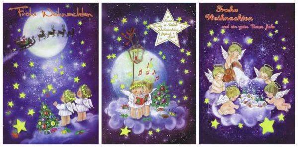 3 Weihnachtskarten mit süssen Weihnachtsengel