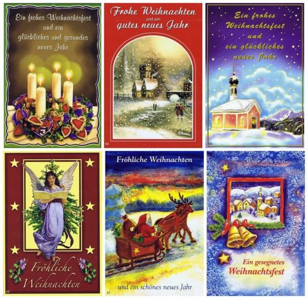Weihnachtskarten-Set mit 6 Klassischen Weihnachtsmotiven