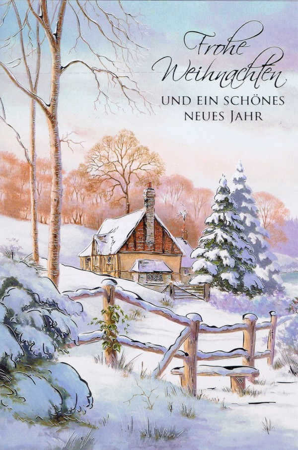 Weihnachtskarte mit idyllischen Weihnachtsbild 224296 Details in Silberfolienprägung