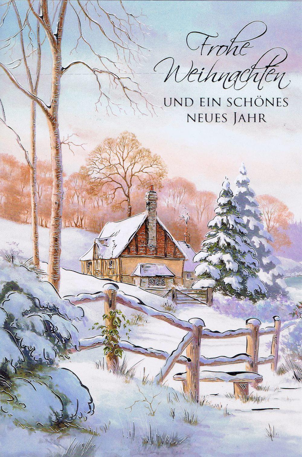 Weihnachtsbilder Mit Text.Weihnachtskarte Mit Idyllischen Weihnachtsbild 224296 Details In Silberfolienprägung