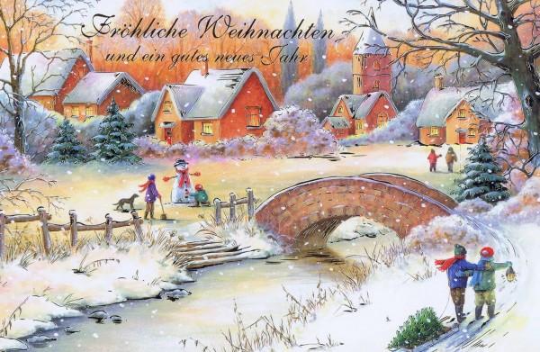 Weihnachtskarte mit idyllischen Weihnachtsbild 224297 Details in Goldfolienprägung