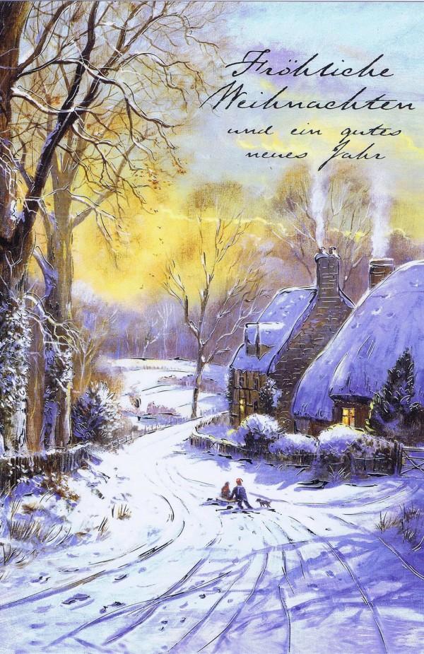 Weihnachtskarte mit idyllischen Weihnachtsbild 224298 Details in Silberfolienprägung