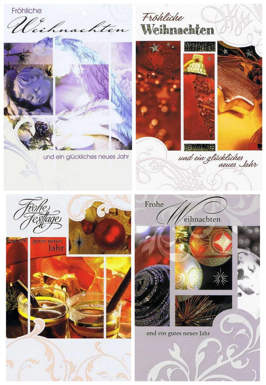 4 Weihnachtskarten mit netten Motiven für frohe Weihnachten