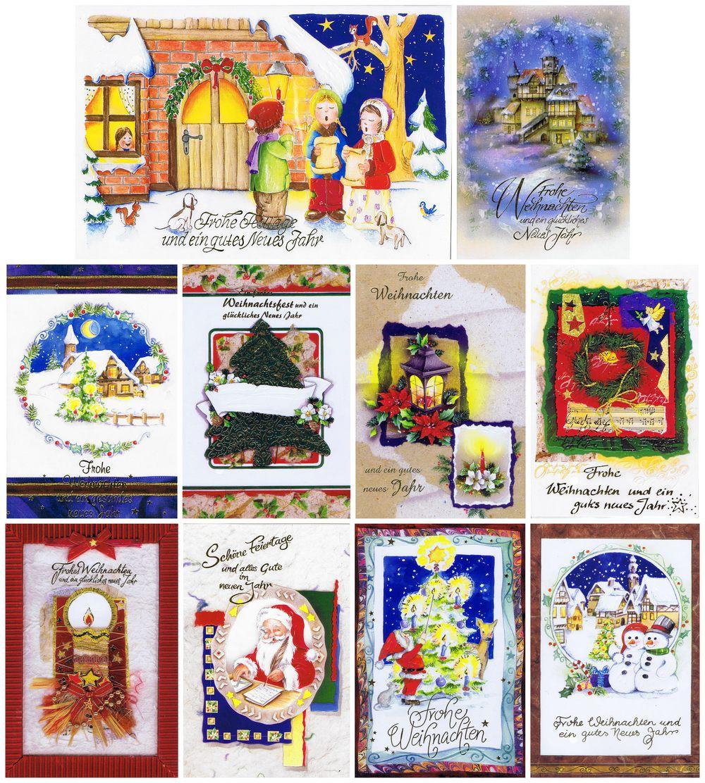 10 geprägte Weihnachtskarten mit stimmungsvollen Weihnachtsmotiven