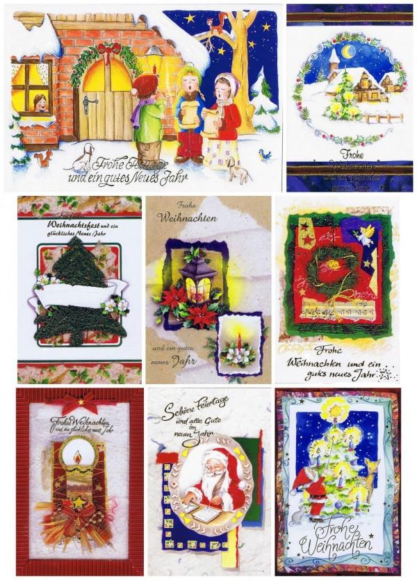 8 geprägte Weihnachtskarten mit stimmungsvollen Weihnachtsmotiven