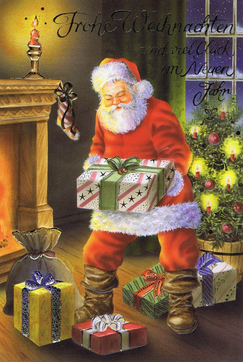 Weihnachtskarte Weihnachtsmann am Kaminfeuer 2