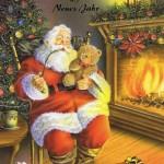 Weihnachtskarte Weihnachtsmann am Kaminfeuer 3