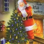 Weihnachtskarte Weihnachtsmann am Kaminfeuer 4