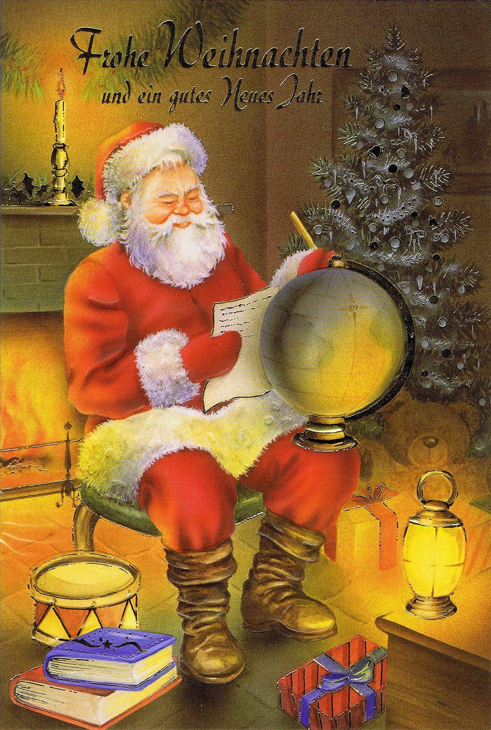 Weihnachtskarte Weihnachtsmann am Kaminfeuer 7