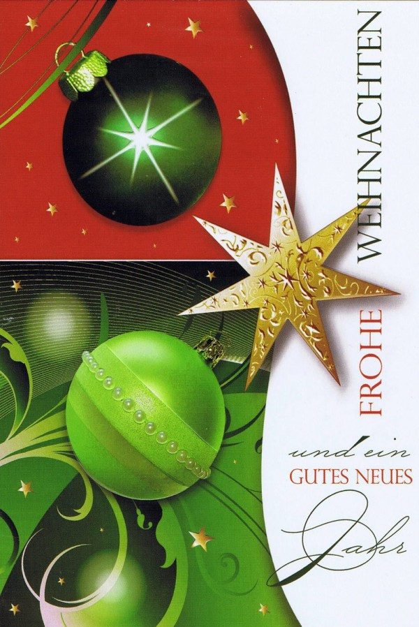 Weihnachtskarte Motiv: Weihnachtskugeln und Sterne gold grün