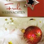 Weihnachtskarte Motiv: Weihnachtskugeln und Sterne gold rot