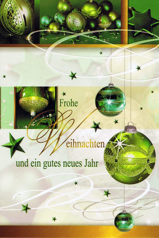 Weihnachtskarte Motiv: Weihnachtskugeln grün