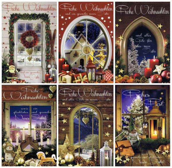 """6 Weihnachtskarten Fenstermotive """"Schöne Aussichten"""""""