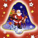 Weihnachtskarte - Weihnachtsglocke mit Weihnachtsmann