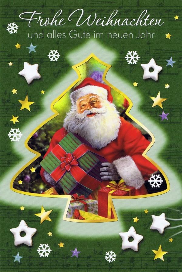 Weihnachtskarte - Weihnachtsbaum mit Weihnachtsmann