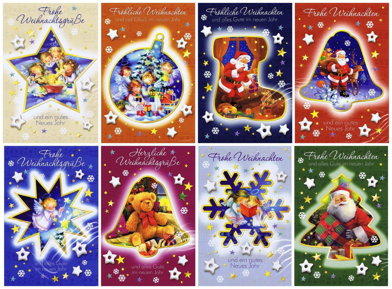 8 Weihnachtskarten mit Engel, Weihnachtsmann