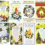 8 Weihnachtskarten, teils mit Sprüchen