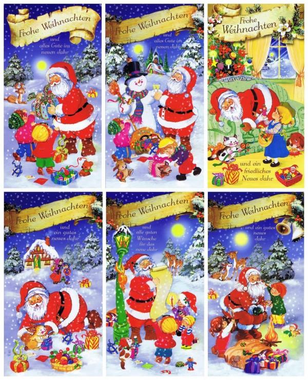 """6 Weihnachtskarten """"Frohe Weihnachten"""" Motiv Weihnachtsmann"""