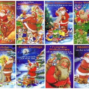 Weihnachtskarten mit Glimmer - 8 Weihnachtsmannmotive
