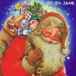 Weihnachtskarte mit Glimmer 223677 Weihnachtsmannmotiv