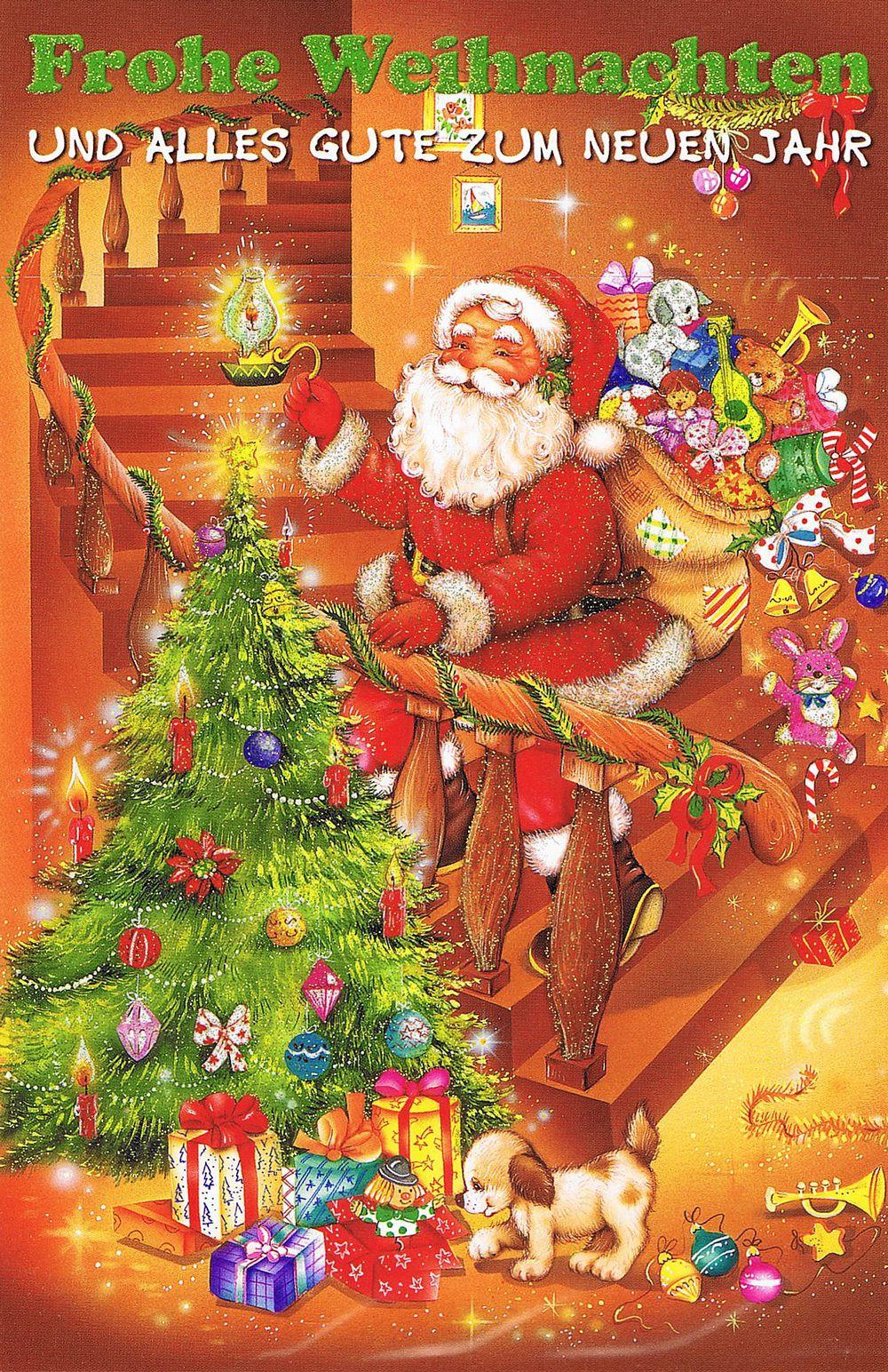 Weihnachtskarte mit Glimmer 223679 Weihnachtsmannmotiv