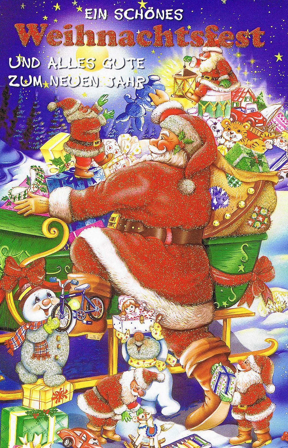 Weihnachtskarte mit Glimmer 223681 Weihnachtsmannmotiv