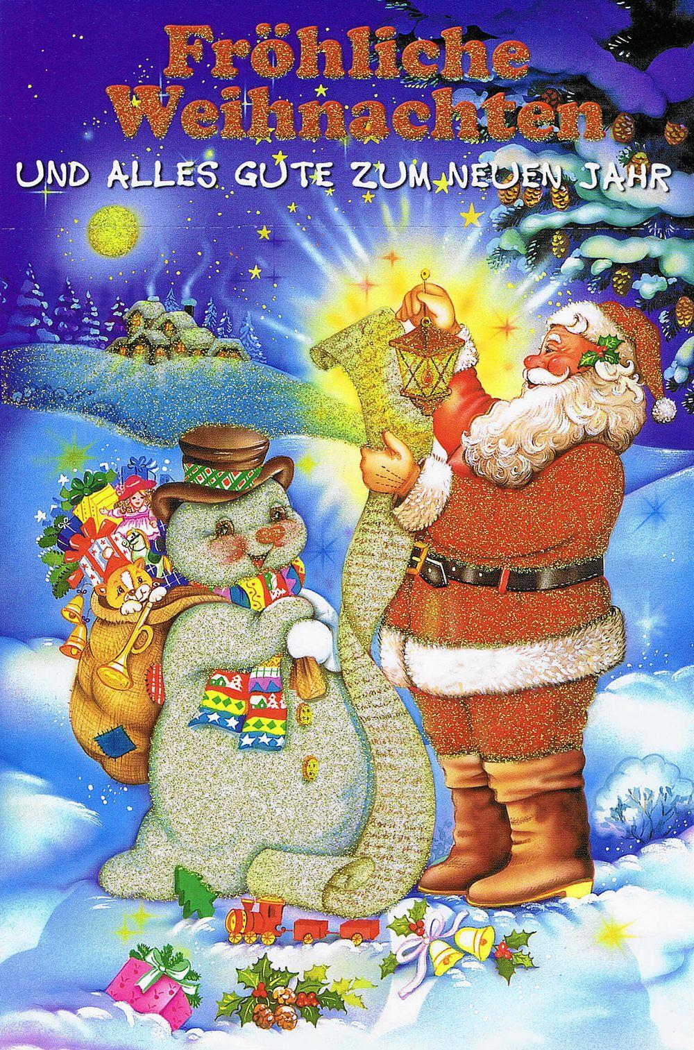 Weihnachtskarte mit Glimmer 223683 Weihnachtsmannmotiv