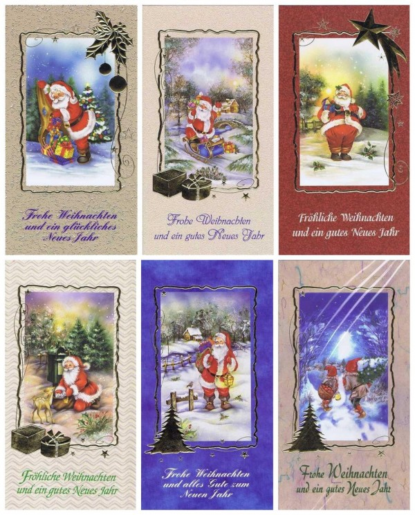 Weihnachtskarten klassisch gestaltet 6er Set Motiv Weihnachtsmann