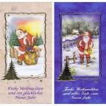 Weihnachtskarten klassisch gestaltet 4er Set Motiv Weihnachtsmann