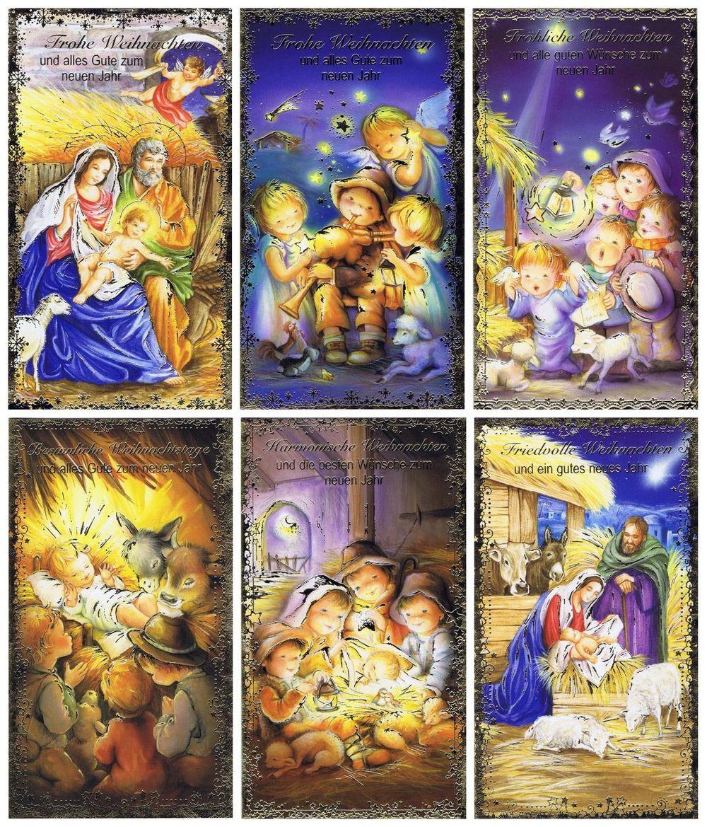 6 Weihnachtskarten mit Krippensmotiv für ein Gesegnetes Weihnachten