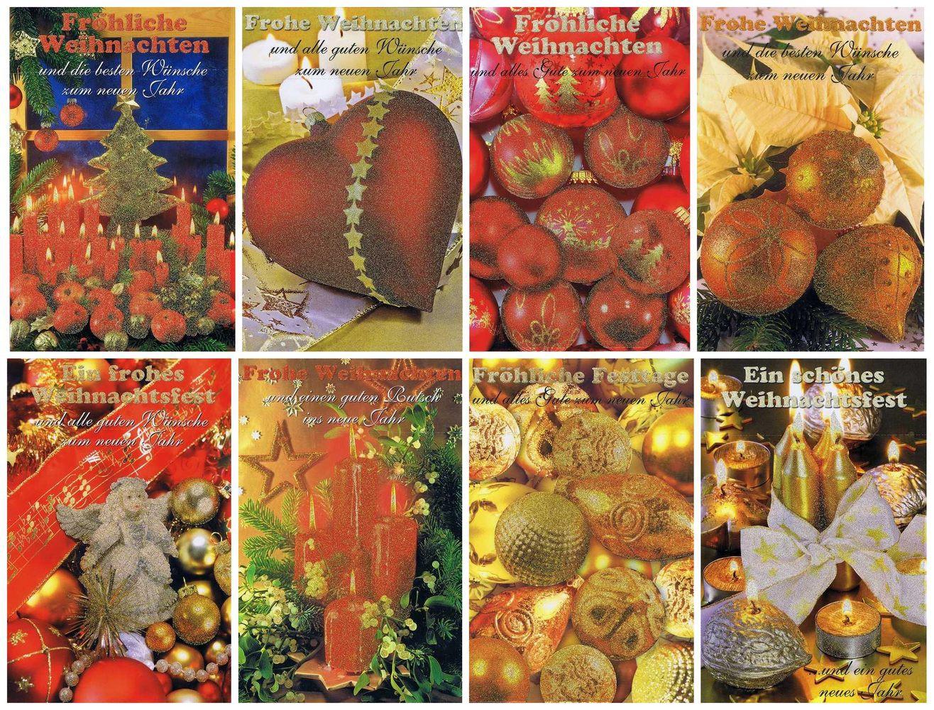 Weihnachtskarten 8 Stück: Weihnachtsmotive mit Glimmer