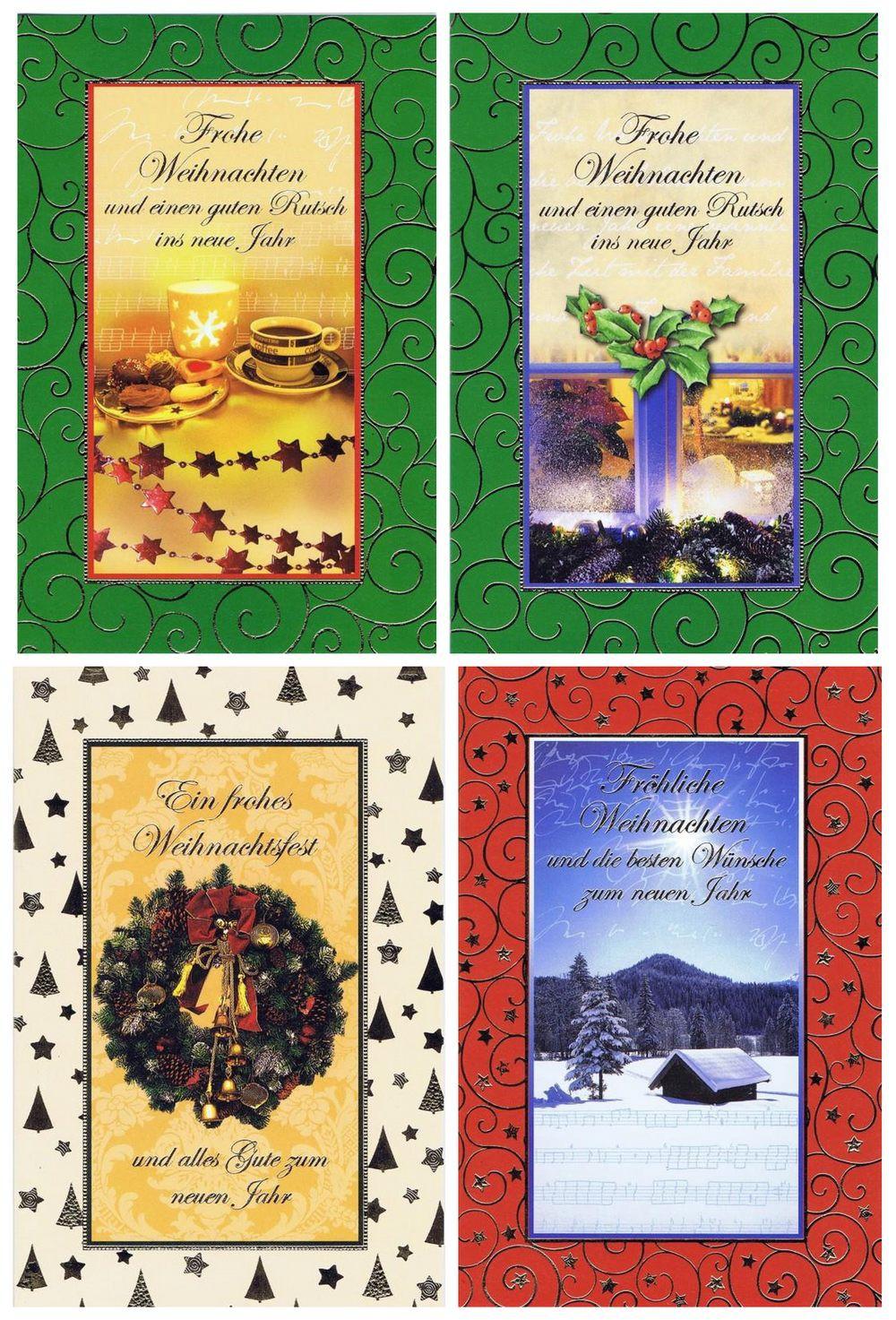 Weihnachtskarten mit 4 klassischen Weihnachtsmotiven im farbigen Rahmen