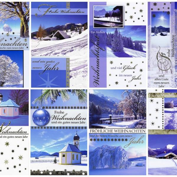 Weihnachtskarten 8 Stück: Winterlandschaft