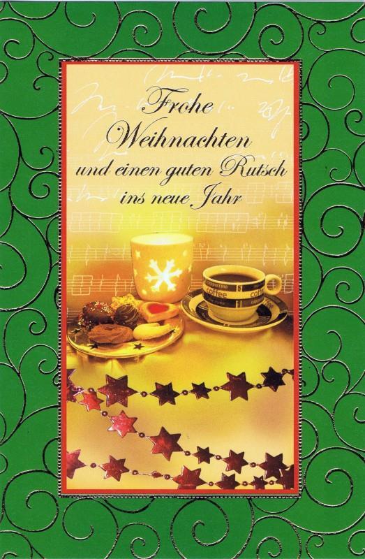 Weihnachtskarte mit weihnachtlichen Motiv im farbigen Rahmen (22sk3534)