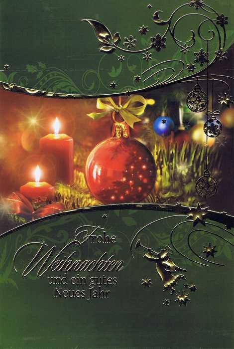 Weihnachtskarte mit Goldfolie und klassischem Weihnachtsmotiv 1