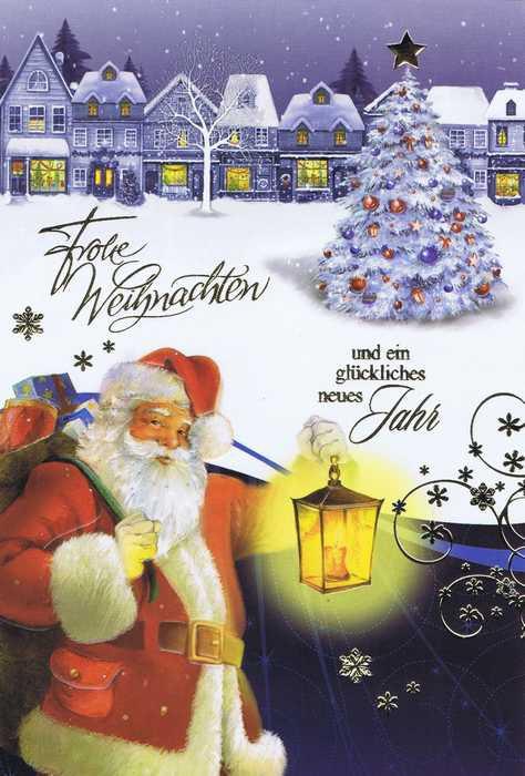 Weihnachtskarte mit Goldfolieprägung Weihnachtmann mit Laterne