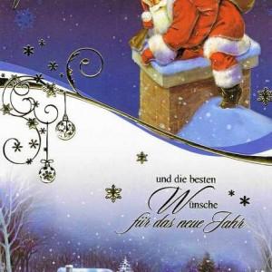 Weihnachtskarte mit Goldfolieprägung Weihnachtmann