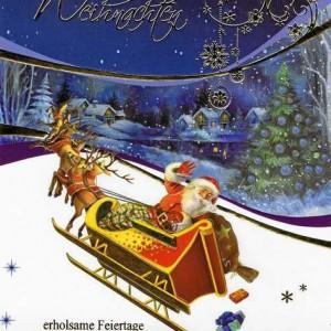 Weihnachtskarte mit Goldfolieprägung Weihnachtmann mit fliegenden Rentierschlitten