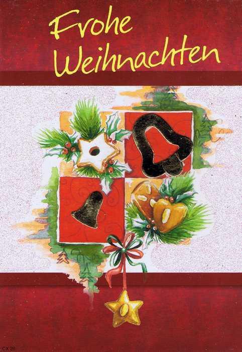 Weihnachtskarte mit Glimmer und Vers zum Advent