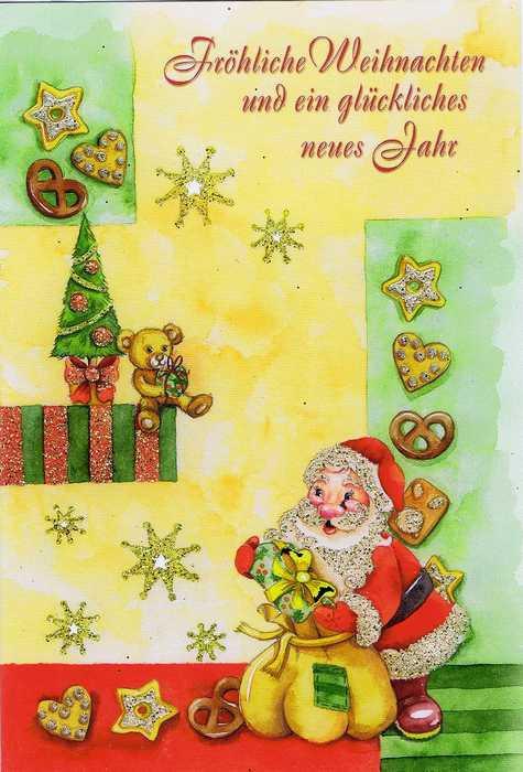 Weihnachtskarte mit Glimmer - Weihnachtsmann und Weihnachtsgebäck