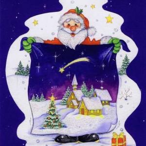 Weihnachtskarte mit Glimmer - Weihnachtsmann und Weihnachtdorf
