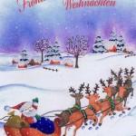 Weihnachtskarte mit Glimmer - Weihnachtsmann mit Schlitten